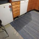 matto kastuu keittiössä vuotavasta putkesta